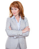 Attractive business woman in grey suit Royalty Free Stock Image
