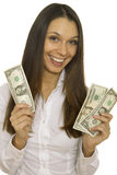 Attractive business woman holding dollars Royalty Free Stock Photo