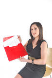 Attractive Business Woman holding red folder and p Stock Photo