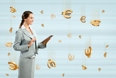 Business woman holding a tablet Royalty Free Stock Image