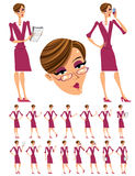 Attractive business woman illustrations set. Royalty Free Stock Photography