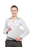Attractive business woman with laptop Royalty Free Stock Photos