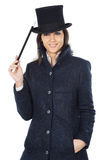 Attractive business woman with a magic wand and hat Stock Photography