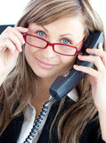 Attractive business woman on phone Royalty Free Stock Photography