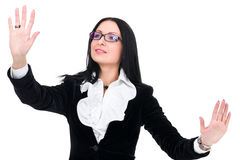 Attractive business woman pointing Stock Images