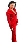 Attractive business woman in red dress Stock Photos