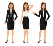 Attractive business woman set. Girl in suit. Vector character. Stock Images