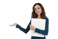 Attractive business woman showing copy space Royalty Free Stock Photos