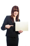 Attractive business woman showing information card Royalty Free Stock Photo