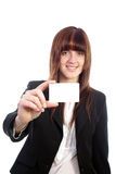 Attractive business woman showing information card Royalty Free Stock Photos