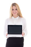 Attractive business woman showing laptop isolated on white. Background Royalty Free Stock Photography