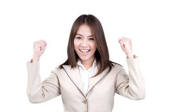 Attractive business woman Success suit isolated Stock Photography