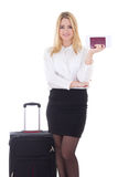 Attractive business woman with suitcase, passport and ticket iso Stock Image