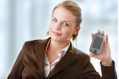 Attractive business woman using a pda Stock Images