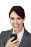 Attractive business woman using phone Stock Photo