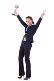Attractive business woman winning trophy Royalty Free Stock Photo