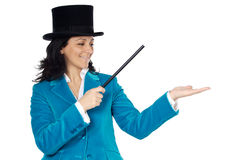 Attractive Business Woman With A Magic Wand And Hat Stock Images