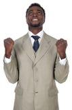 Attractive businessman celebrating a triumph Stock Photo