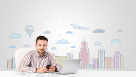 Attractive businessman with city sky-scape background Stock Photo