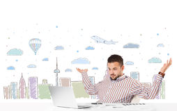 Attractive businessman with city sky-scape background Royalty Free Stock Photos