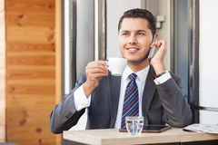 Attractive businessman is communication on royalty free stock image