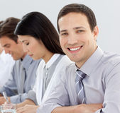 Attractive businessman at a conference Royalty Free Stock Images