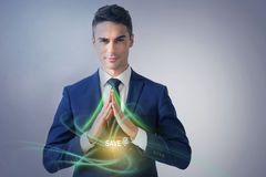 Attractive businessman is demonstrating safety stock images