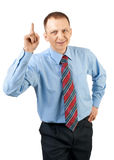 Attractive businessman with finger pointing up Stock Photo