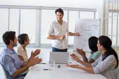 Attractive businessman giving a presentation to his coworkers Stock Photos