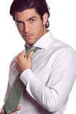 Attractive businessman with green tie Royalty Free Stock Image