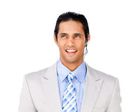 Attractive businessman with headset on Stock Photography