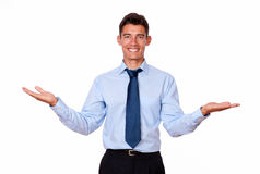 Attractive businessman holding up his palms Stock Photos