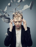 Attractive businessman with a huge migraine Stock Images