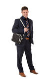 Attractive businessman laptop bag Royalty Free Stock Photo
