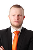 Attractive businessman in orange tie Royalty Free Stock Photos