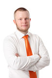 Attractive businessman in orange tie Stock Photos