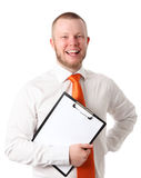 Attractive businessman in orange tie Royalty Free Stock Photos