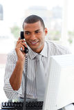 Attractive businessman on phone Stock Photos