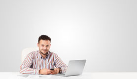 Attractive businessman with plain white copy space Royalty Free Stock Photo