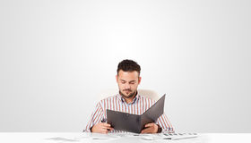 Attractive businessman with plain white copy space Stock Photography