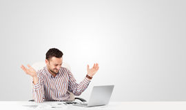 Attractive businessman with plain white copy space Royalty Free Stock Image