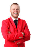 Attractive businessman in an red jacket Royalty Free Stock Photo