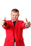 Attractive businessman in an red jacket Royalty Free Stock Image