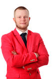 Attractive businessman in an red jacket Royalty Free Stock Images