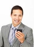 Attractive businessman sending a text Royalty Free Stock Photo