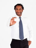 Attractive  businessman showing white card Royalty Free Stock Photos