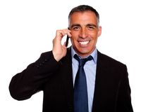 Attractive businessman speaking on mobile Royalty Free Stock Photography