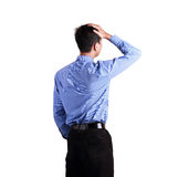 Attractive businessman standing over white Stock Images