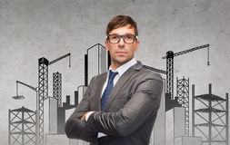 Attractive businessman or teacher in glasses royalty free stock photo