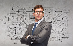 Attractive businessman or teacher in glasses Royalty Free Stock Photography